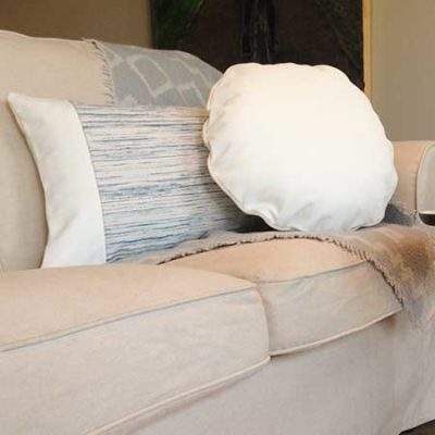 Decorative pillow in white leather