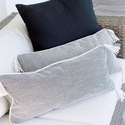 Black and white pillows for a contemporary look.